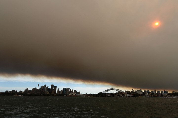 Huge palls of smoke over the harbour